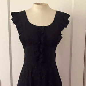 Betsey Johnson Black Silk Polka Dot Ruffle Dress